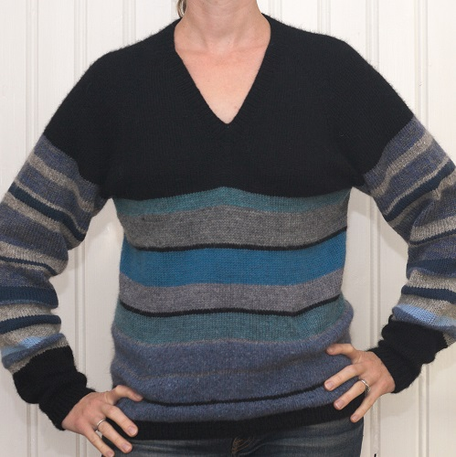 V-neck example in wool with positive ease and waist-hip shaping