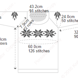 An example of our 'Snowflakes' charts on an child's pullover