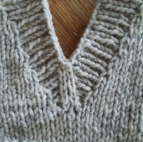 Close up of v-neck finish - pullover